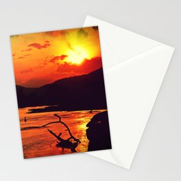 African River Sunset Leopard Stationery Cards