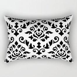 Damask Baroque Pattern Black on White Rectangular Pillow