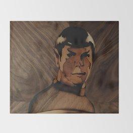 Original Leonard Nimoy (mr. Spock) on enterprise series of wood by Andulino Throw Blanket