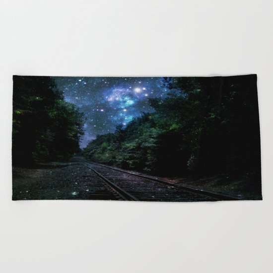 Train Tracks : Next Stop Anywhere Blue Side View Beach Towel