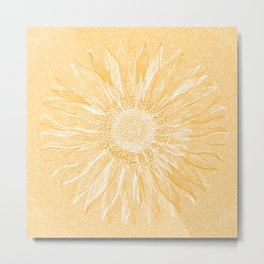 Mandala, Sunflower Prints, Yellow Metal Print