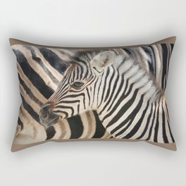Zebra mother with Baby - wildlife Rectangular Pillow