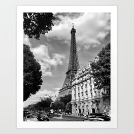 Eiffel Tower, Paris, France black and white photograph Art Print