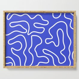 Squiggle Maze Abstract Minimalist Pattern in White and Electric Blue Serving Tray