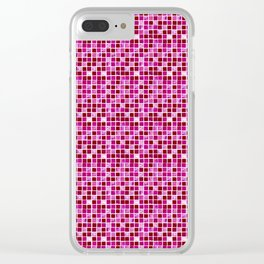 Pink Cute geometric tile pattern Clear iPhone Case