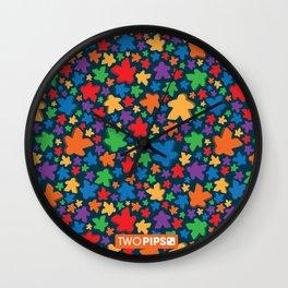 Funky Meeple Pattern Wall Clock