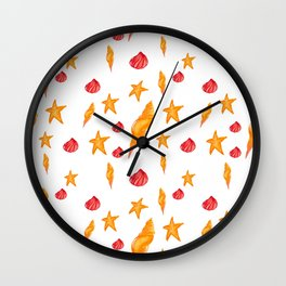 Sea pattern with gold and fuchsia Wall Clock