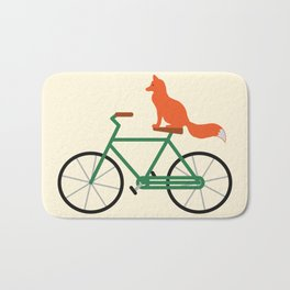 Fox Riding Bike Bath Mat