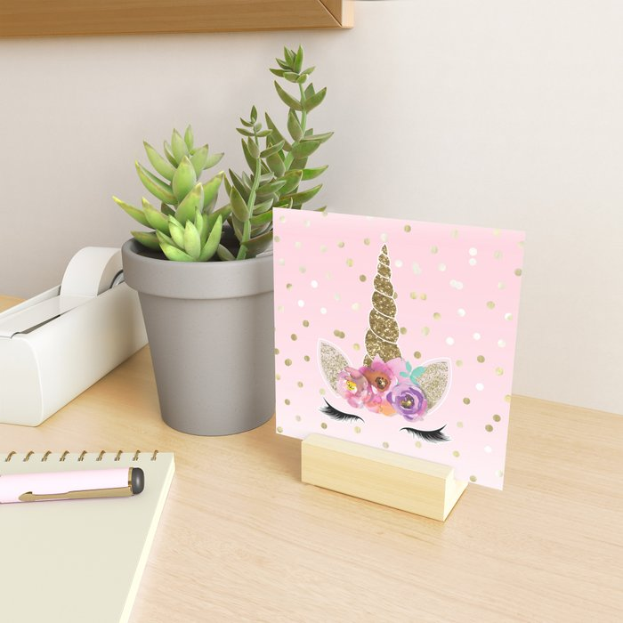 Floral Trendy Modern Unicorn Horn Gold Confetti Mini Art Print