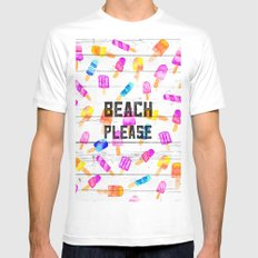 Summer beach typography ice cream watercolor wood White Mens Fitted Tee MEDIUM