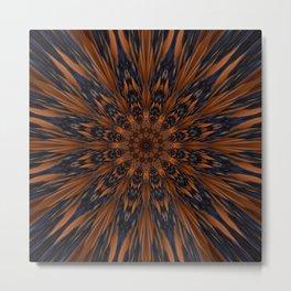 Energizing bronze mandala Metal Print