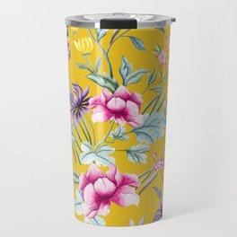 Yellow Chinese Floral Travel Mug