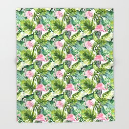 Pink green watercolor flamingo tropical monster leaves Throw Blanket