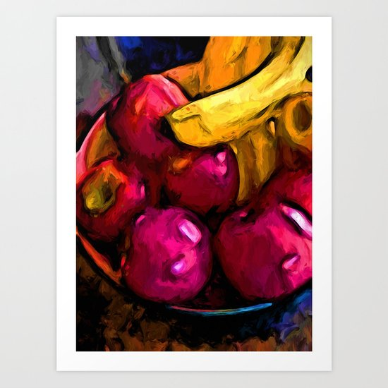Still Life with Pink Apples and Yellow Bananas Art Print