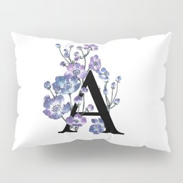 Letter 'A' Anemone Flower Typography Pillow Sham