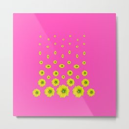MODERN PINK & YELLOW FLOWERS  DESIGN ART Metal Print