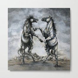 Fighting Horses Metal Print