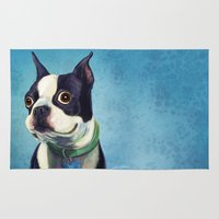 terrier Area & Throw Rugs featuring Boston Terrier by Jackie Sullivan