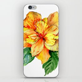 Yellow Summer Hibiscus Blossom iPhone Skin