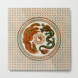 Phoenix and Dragon with bagua #3 Metal Print