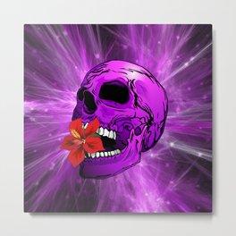 Purple Sugar Skull with Hibiscus Flower Metal Print
