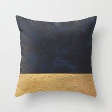 Color Blocked Gold & Cobalt Throw Pillow