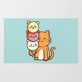 Kawaii Cute Cat and Micecream Rug