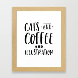 Cats and Coffee and Illustration Framed Art Print