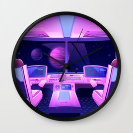 Synthwave Space: Spaceship cockpit Wall Clock