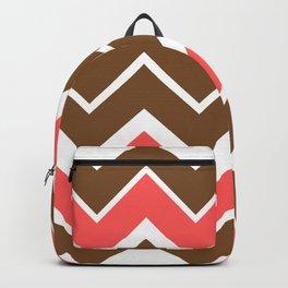 Big Chevron:  Chocolate Brown + Coral Backpack