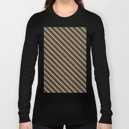 Tan Brown and Black Diagonal LTR Var Size Stripes Long Sleeve T-shirt