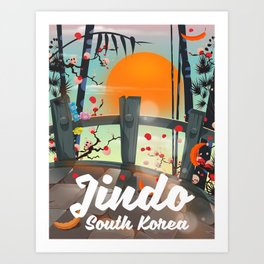 Jindo South korea travel poster. Art Print