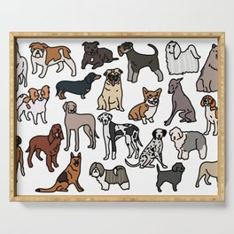 Dog breeds, original artwork Serving Tray