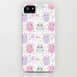 Cute mauve pink purple teal owl floral pattern iPhone Case