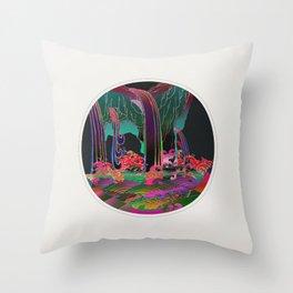 Reincarnation - Neon Waterfalls Throw Pillow