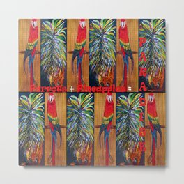 Parrots and Pineapples Metal Print