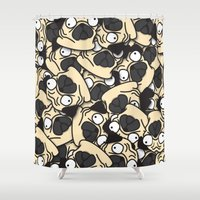 pugs Shower Curtains featuring PUGS! by Puglic Enemy