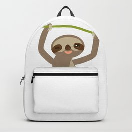 funny and cute smiling Three-toed sloth on green branch 2 Backpack
