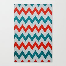 Red and Teal Chevron  Canvas Print