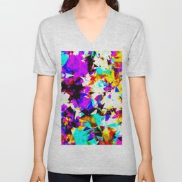 psychedelic geometric triangle abstract pattern in purple pink blue yellow red Unisex V-Neck