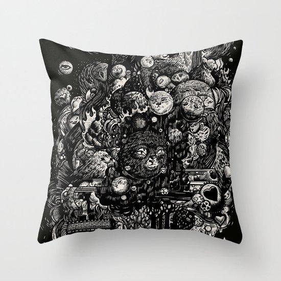Spark-Eyed Oblivion Cascade Blues Throw Pillow