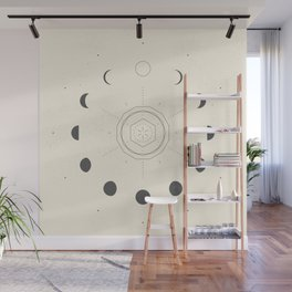 Moon Phases Light Wall Mural