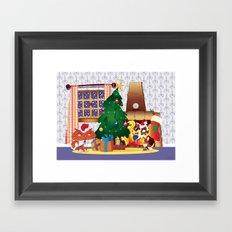 Merry Christmas Cat and Dog Framed Art Print