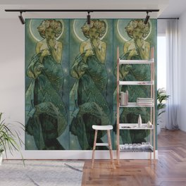 """Alphonse Mucha """"The Moon and the Stars Series: The Moon"""" Wall Mural"""