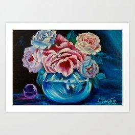 Rose in Blue Glass Art Print