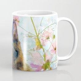 Black Fluffy Kitten in the Flower Garden Sunshine Coffee Mug