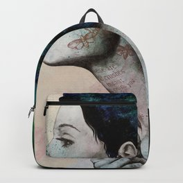 Moral Eclipse (colorful hair woman with moths tattoos) Backpack