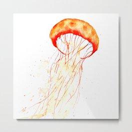 orange jellyfish watercolor Metal Print