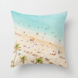 Waikiki beach in Hawaiian summer. Throw Pillow