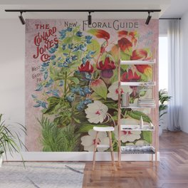 Vintage Flowers Advertisement Collage Wall Mural